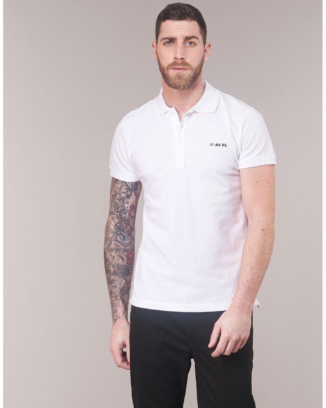 Mens Diesel T-Heal Camicia White Polo Shirt