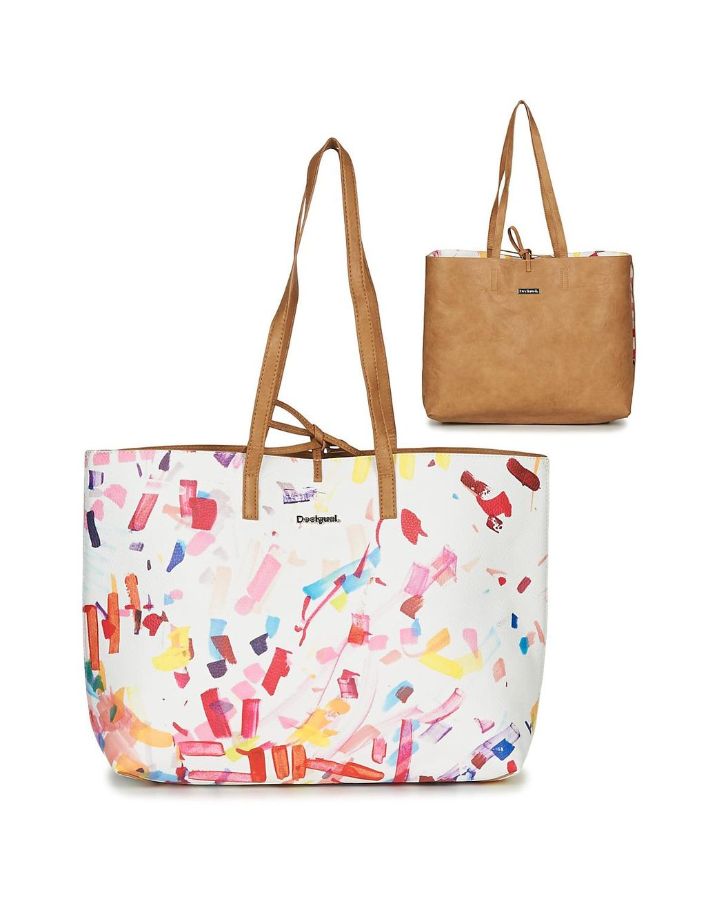 Desigual Women/'s White Confetti Seattle 3 in 1 Bag  Cross Body Shopper RRP£74