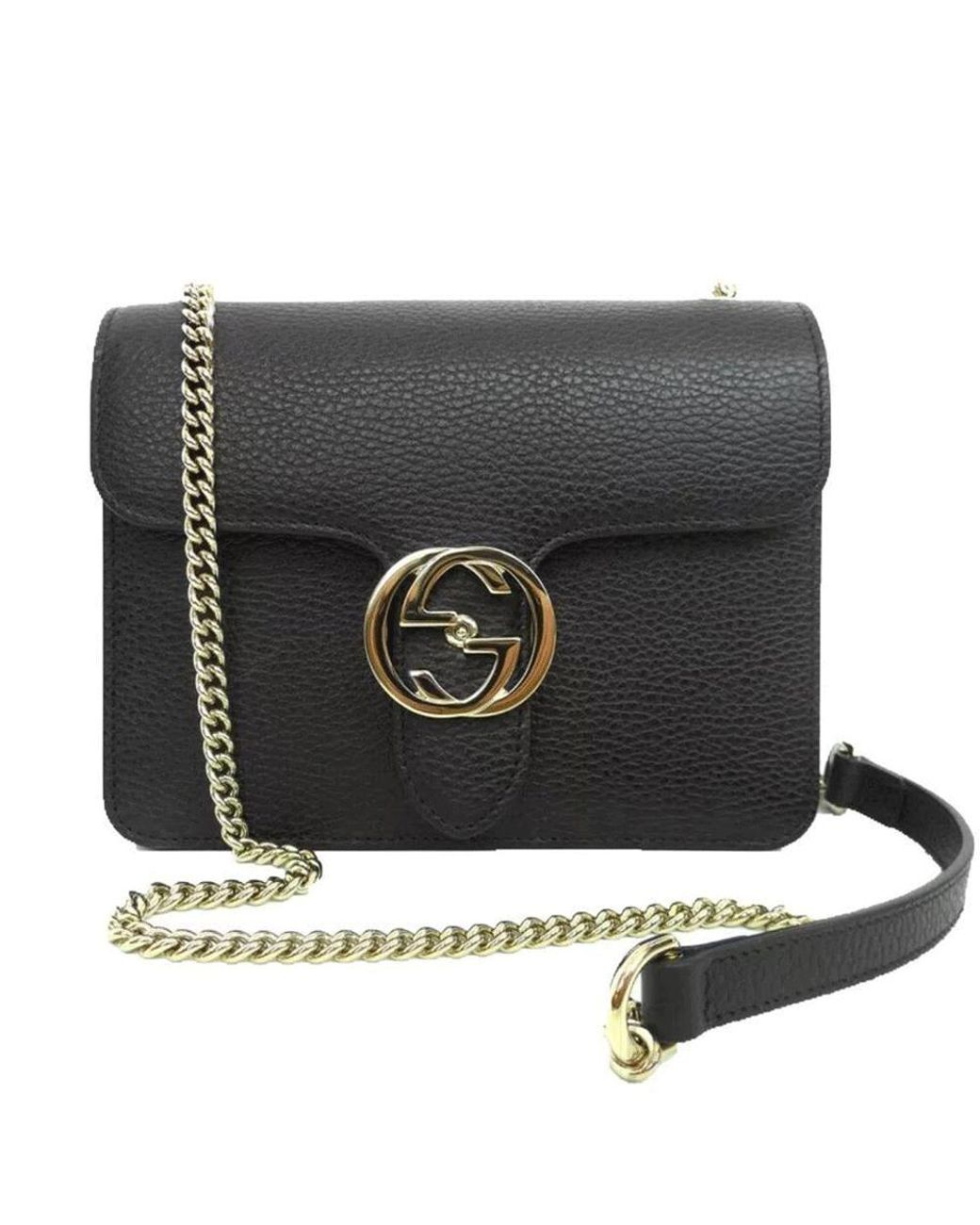 6e6b77d6 Women's Black Leather Marmont Interlocking GG Crossbody Bag