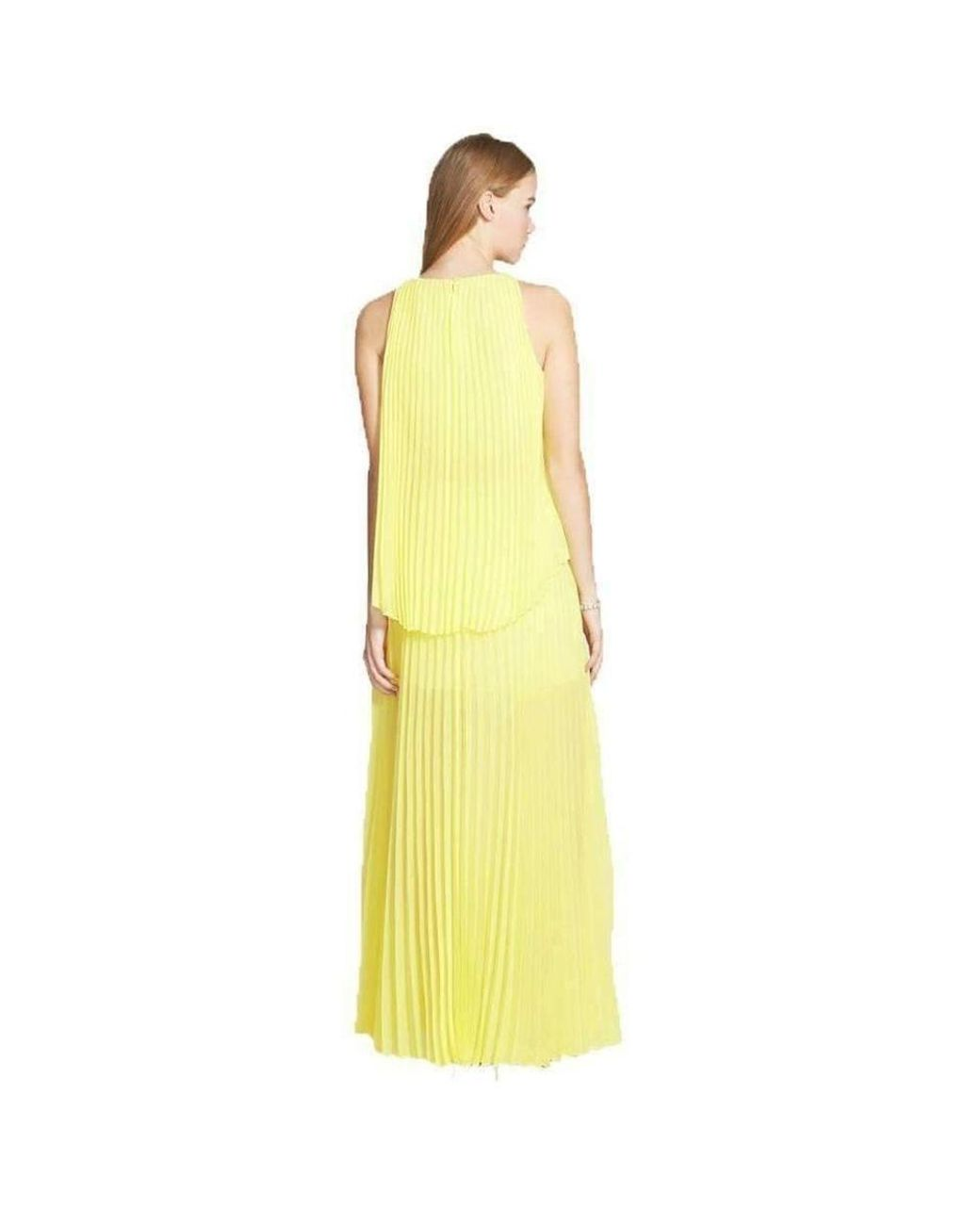 3c536594c4c Lyst - BCBGMAXAZRIA Jenine Neon High Split Pleated Skirt Maxi Dress in  Yellow