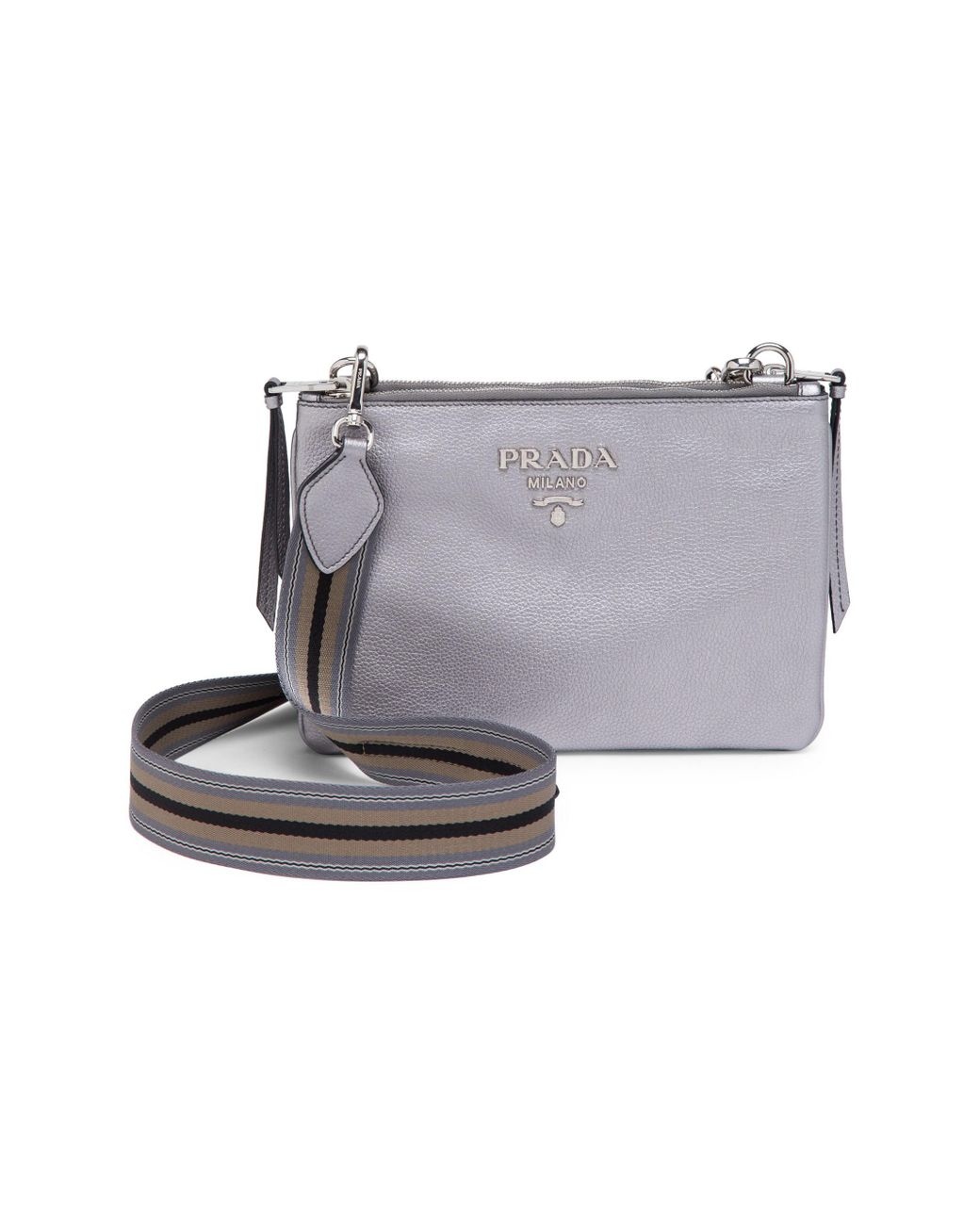 c4838926cf4e84 Long-Touch to Zoom. Prada - Gray Women's Daino Leather Crossbody Bag ...
