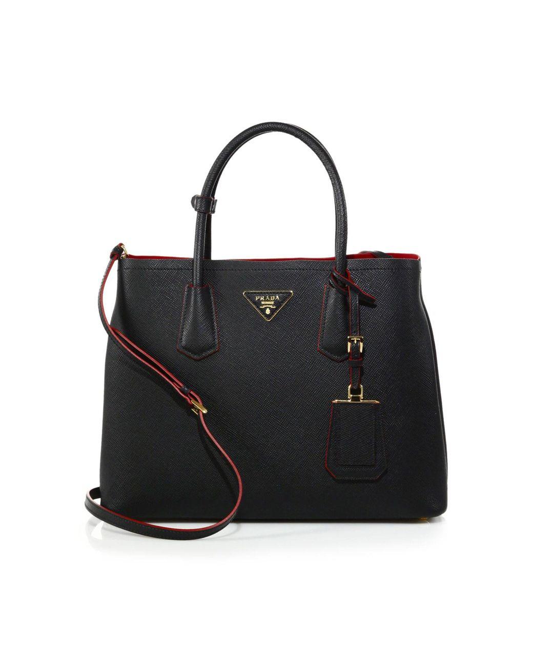 503fc88c6c4b Lyst - Prada Saffiano Cuir Medium Double Bag in Black - Save 2%