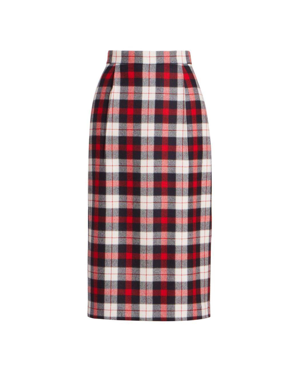 Womens Tartan High Waisted Pencil Stretch Banded Slim Ladies Midi Bodycon Skirt