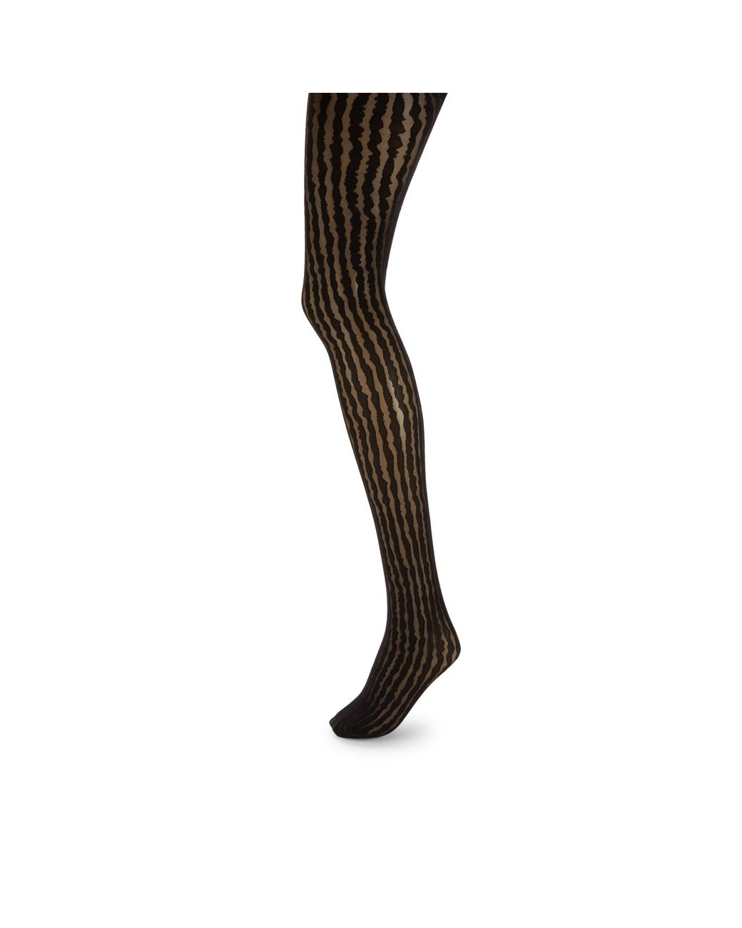 Black Pantyhose Stockings Women Geometric Print Block Stripe Sheer Hosiery Nylon