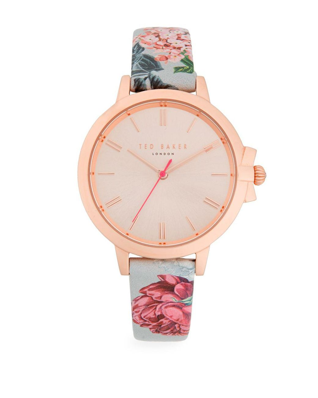c8d4ae548 Long-Touch to Zoom. Long-Touch to Zoom. 1  2. Ted Baker - Pink Floral  Analog Watch - Lyst ...