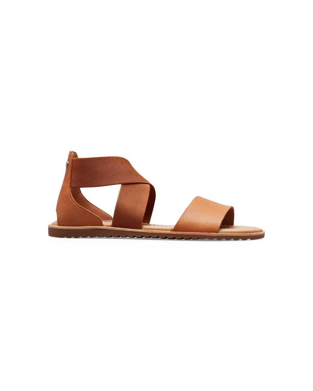 Sorel Ladies Ella Sandals New Leather Open Toe Summer Casual Flat Slip-On Shoes
