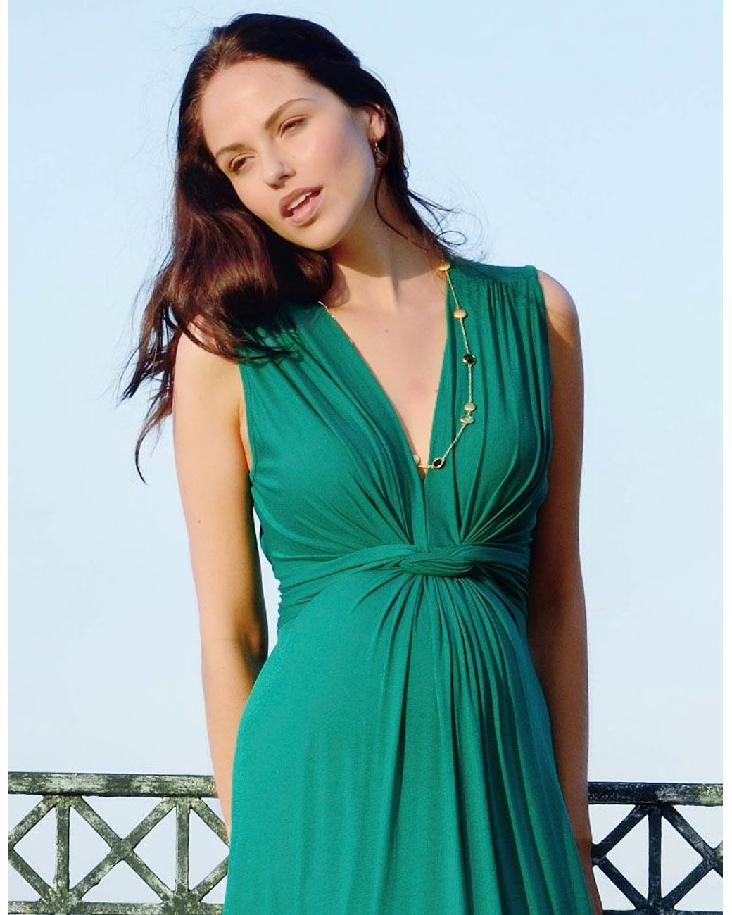 Seraphine Womens Emerald Knot Front Maternity Maxi Dress Casual Clothing Shoes Jewelry