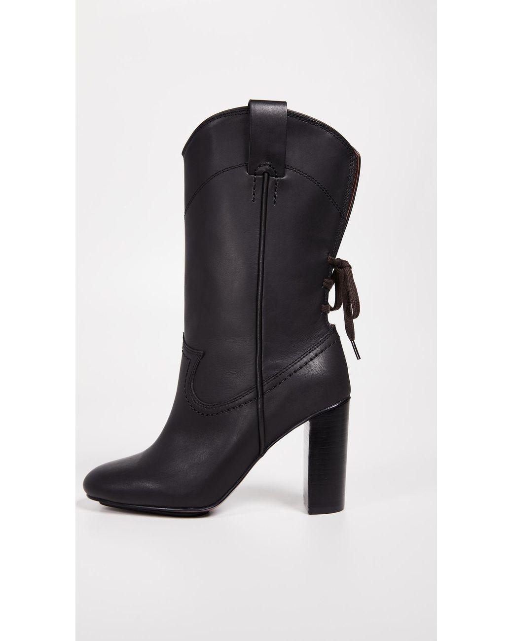 585700e7b8a6 Lyst - See By Chloé Annika High Heel Western Boots in Black