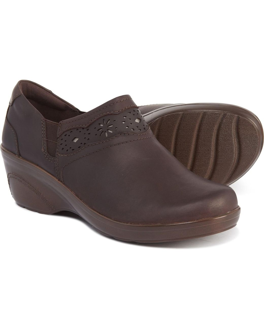 Clarks Dark Brown Marion Helen Cut-out detail Slip-on Wedge Shoes NEW