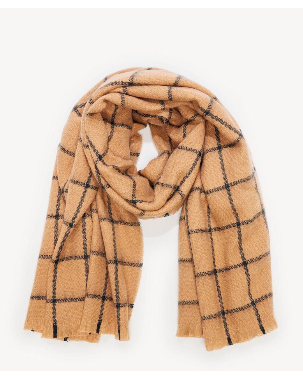 NEW Mid weight Plaid Square Scarf w// lurex Blue Cozy Wrap shawl UNISEX Warm