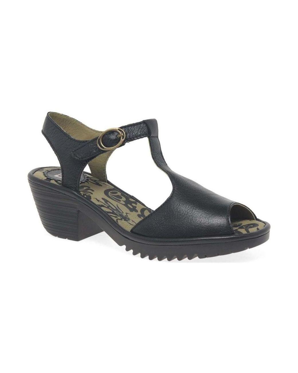 586083a4ea Fly London Wesy Womens Block Heel Sandals Women's Sandals In Black ...