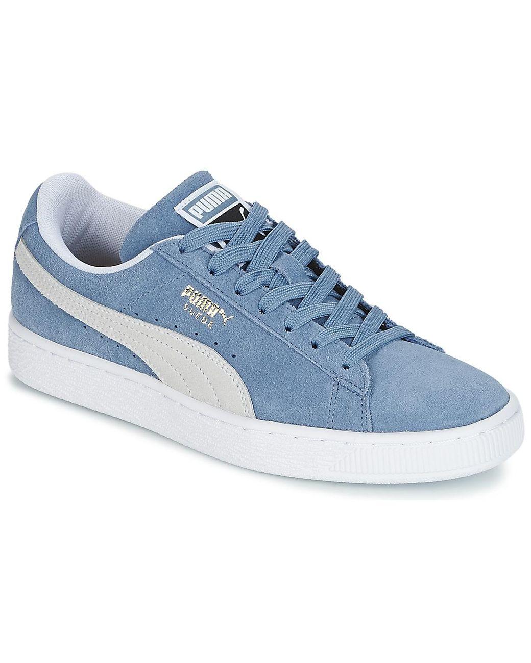 chaussure puma suede femme bleu