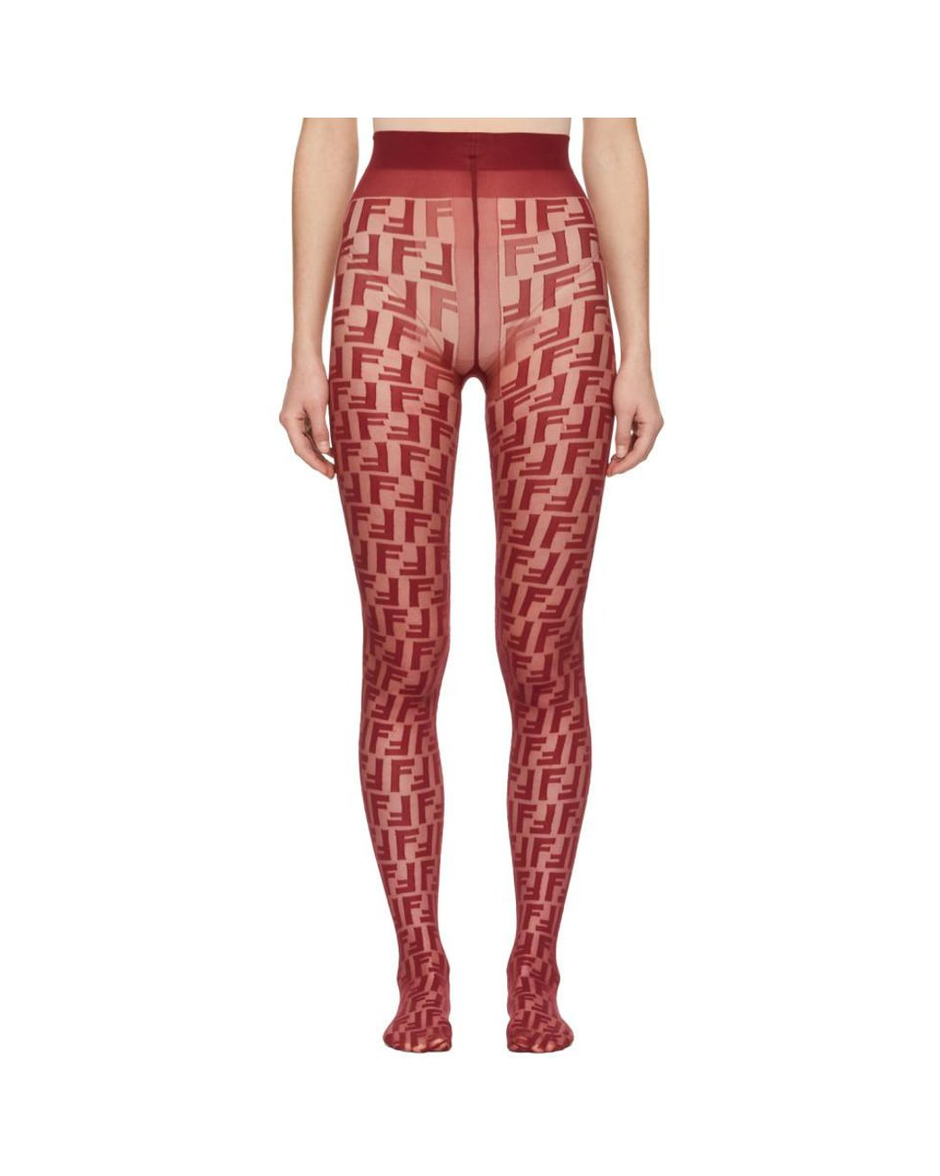 ee511725b Fendi Red Forever Tights in Red - Lyst