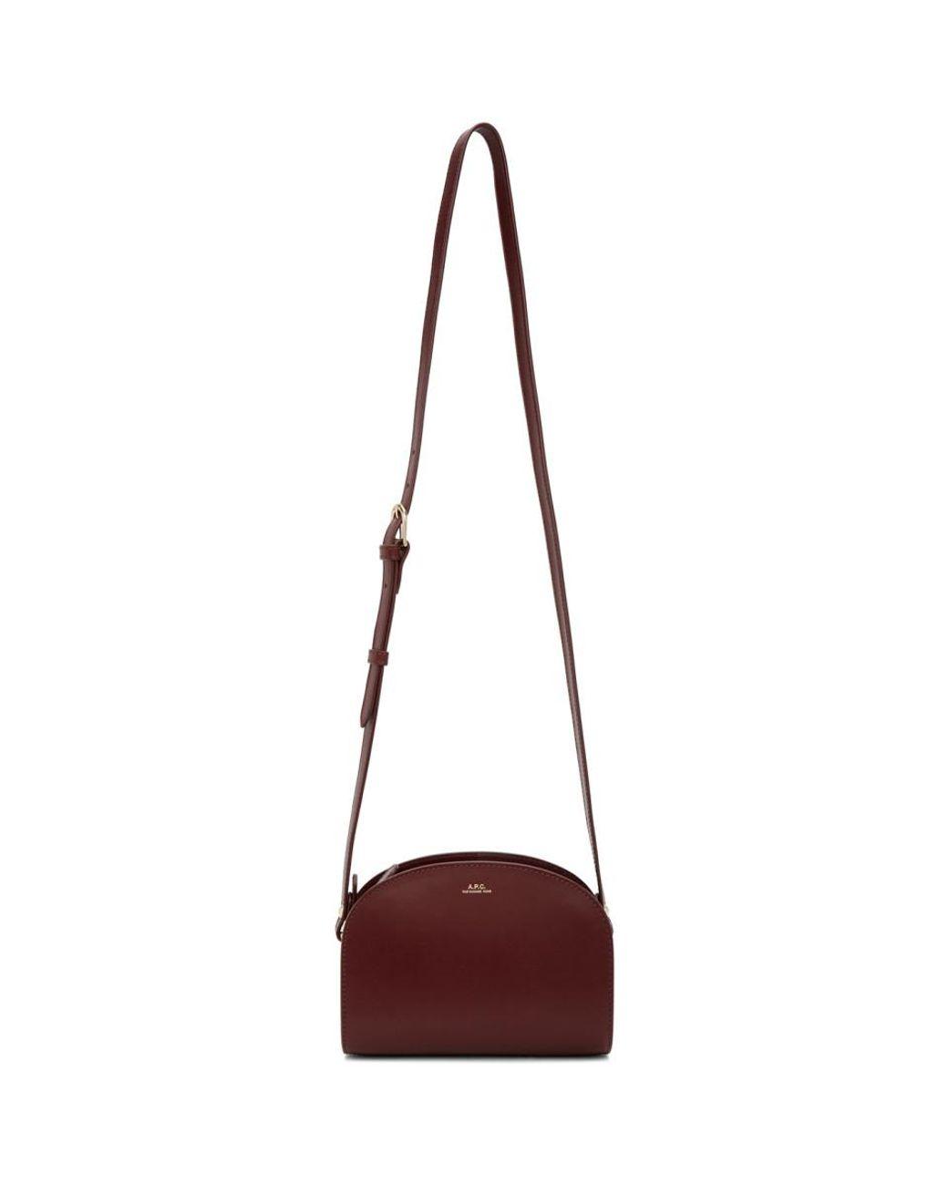 A.P.C. Leather Burgundy Mini Demi-lune Bag - Lyst