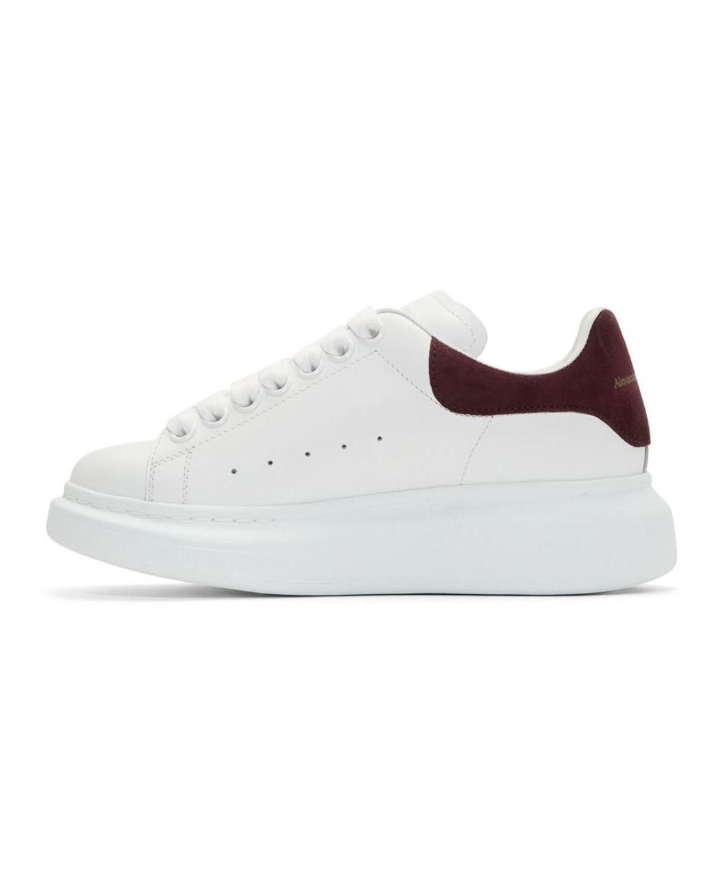 Women's White And Burgundy Oversized Trainers