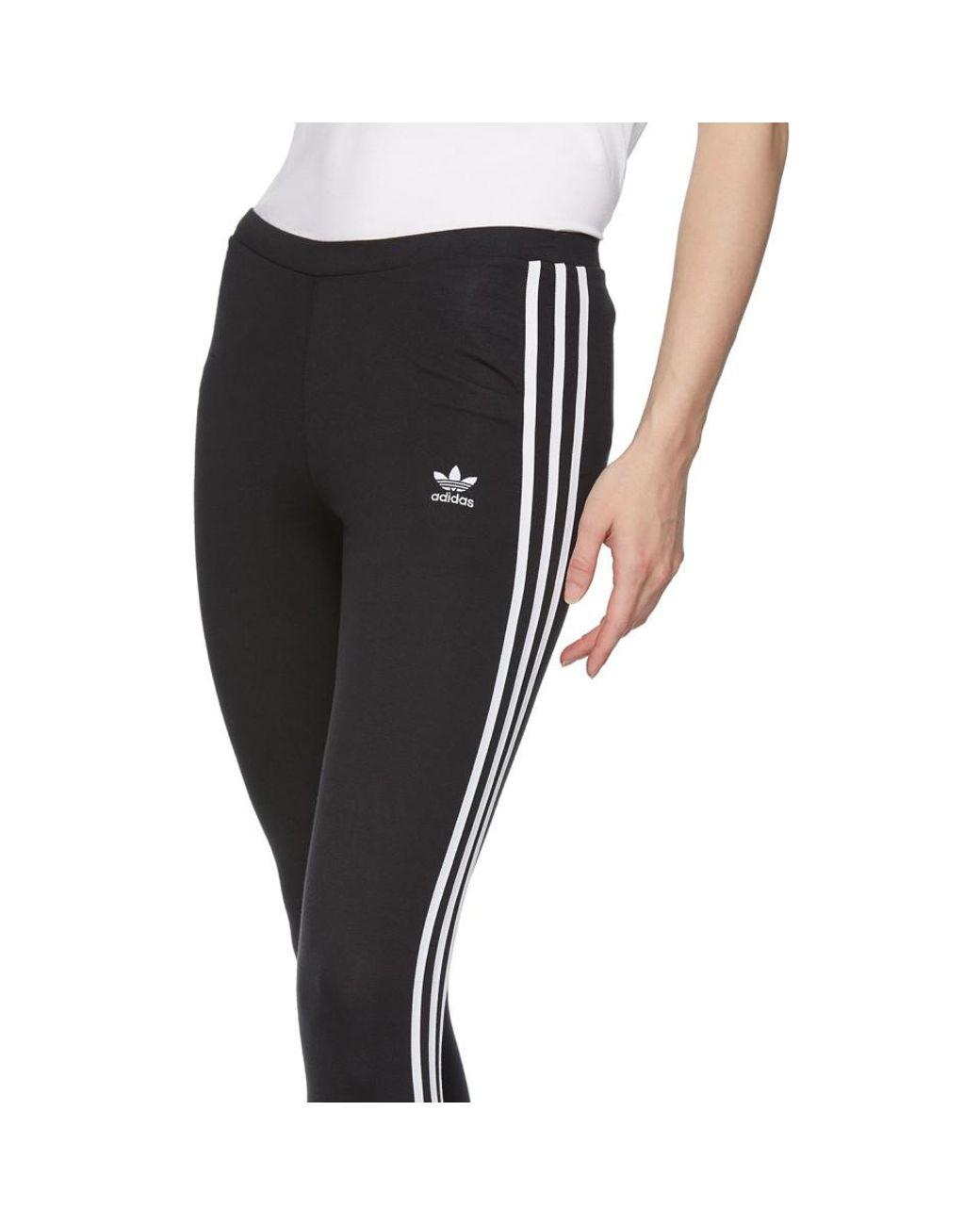 68654ec24c7 adidas Originals Black 3-stripes Leggings in Black - Lyst