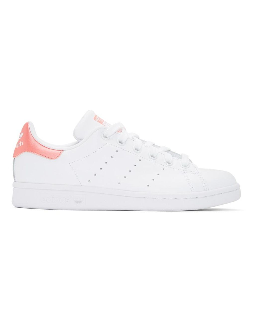 pretty nice ded7c d6c9d Women's White And Pink Stan Smith Sneakers