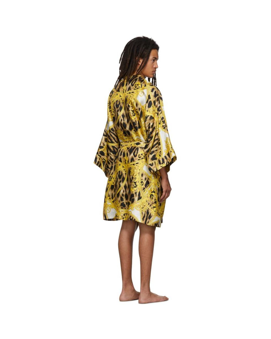 new lifestyle clients first greatvarieties Men's White And Yellow Animalier Night Robe