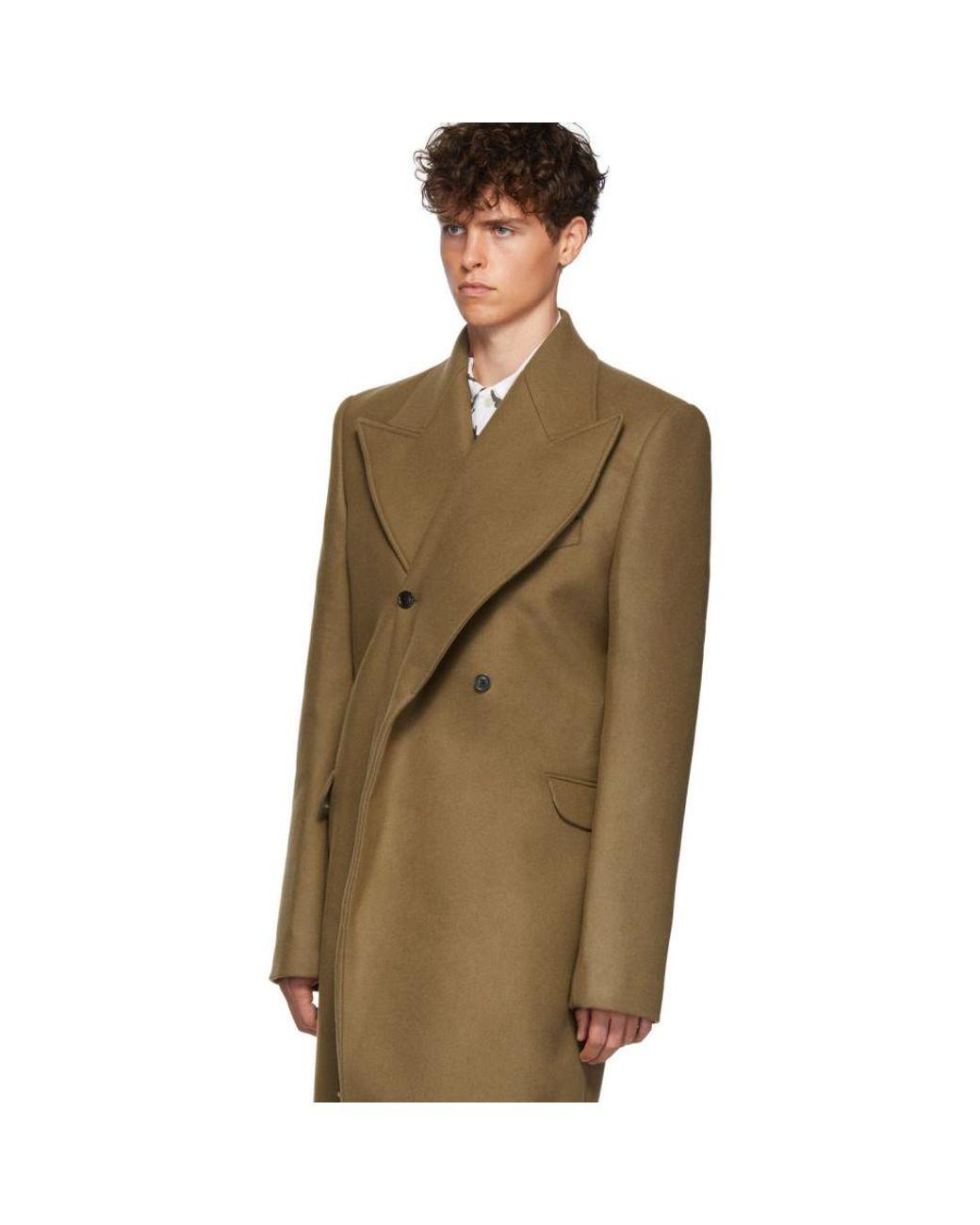 Men's Tan Double Lapel Coat