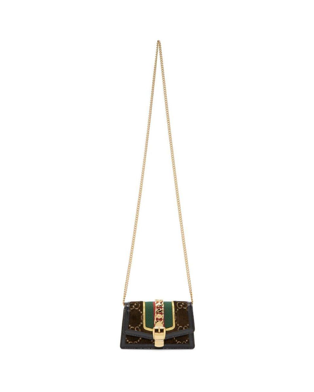 46d5e8c67 Gucci Brown Super Mini Velvet GG Sylvie Chain Bag in Brown - Lyst