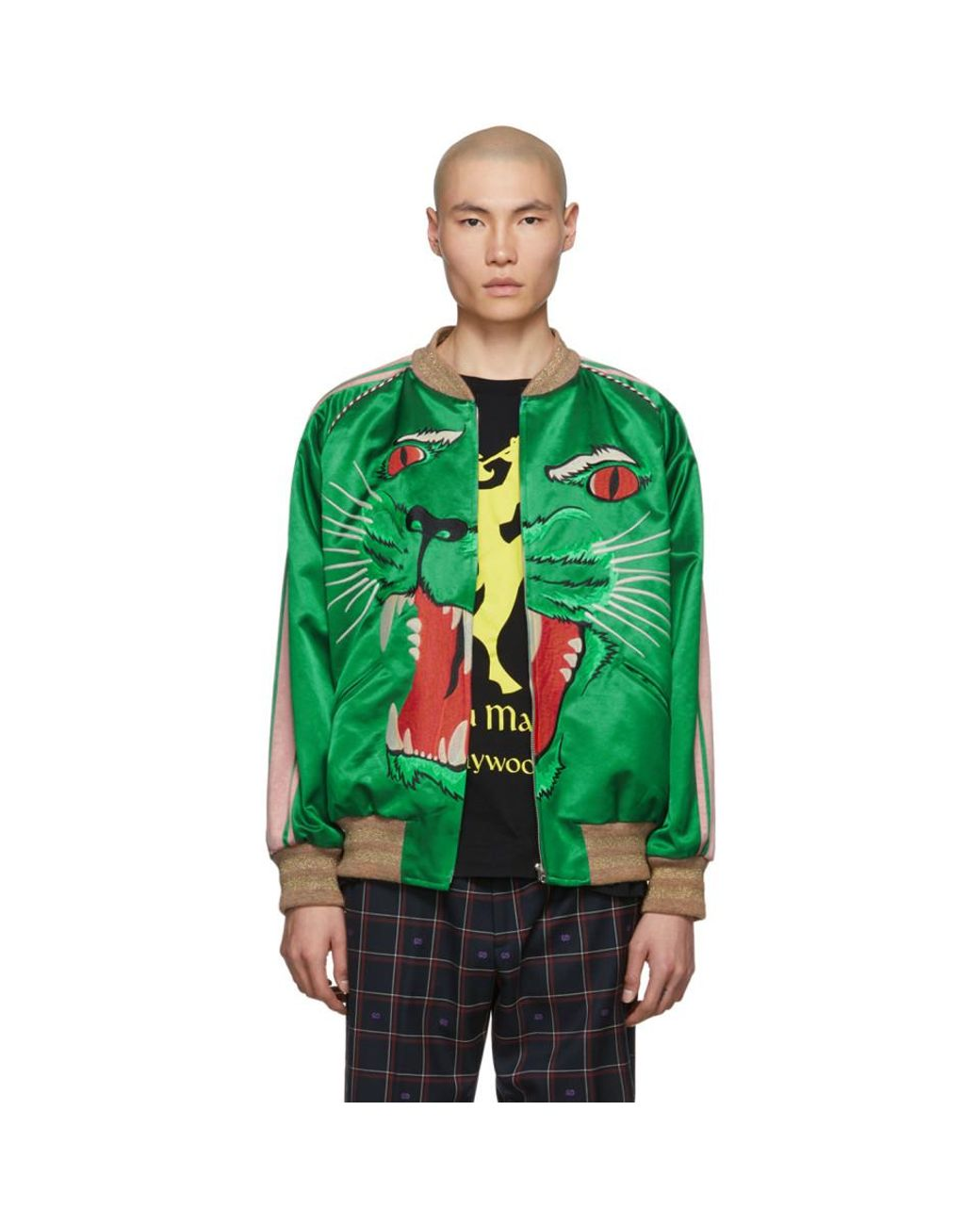 ed31d9fad Men's Green Panther Bomber Jacket
