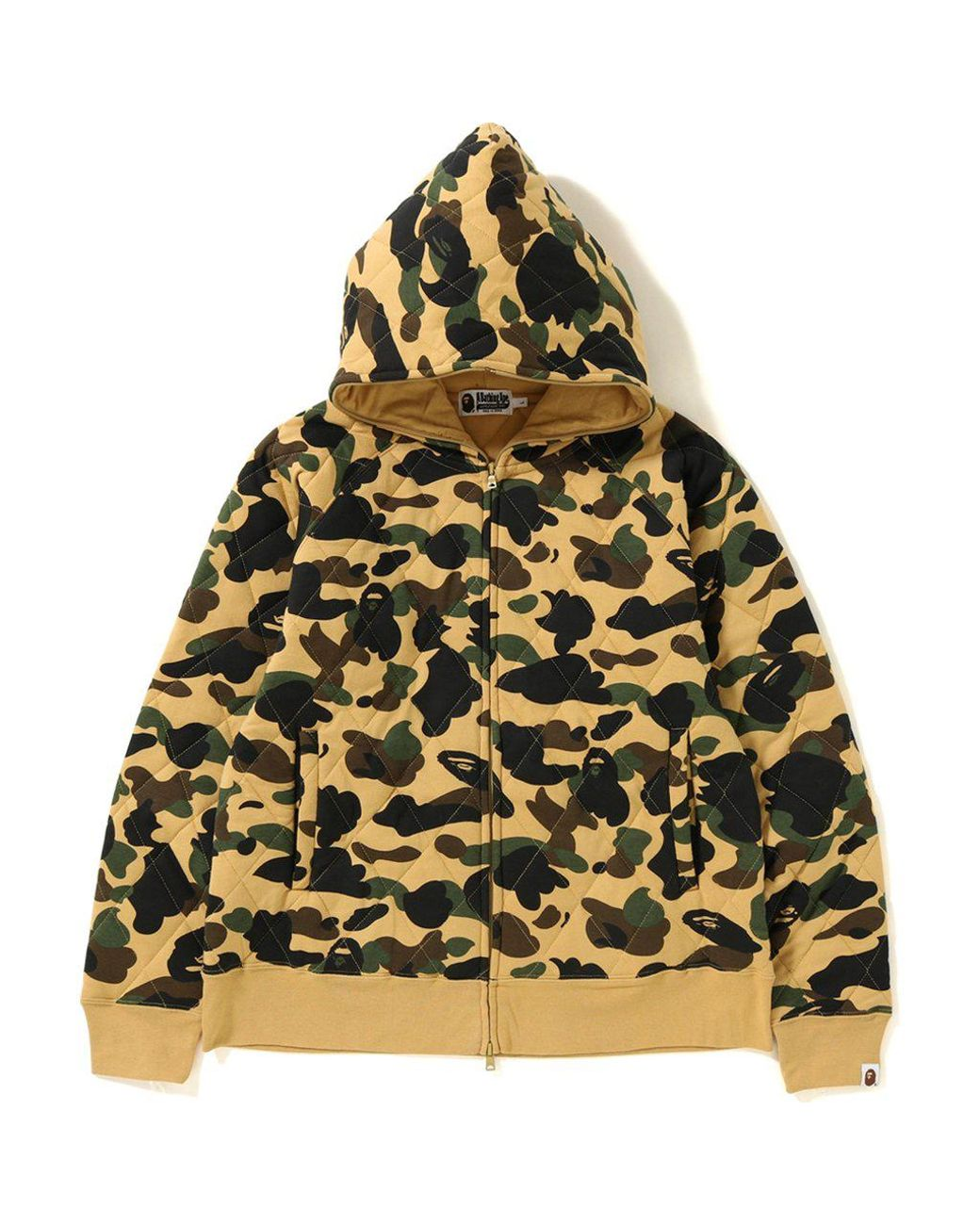 50962a15 A Bathing Ape 1st Camo Quilting Wide Full Zip Hoodie Yellow in Yellow for  Men - Lyst