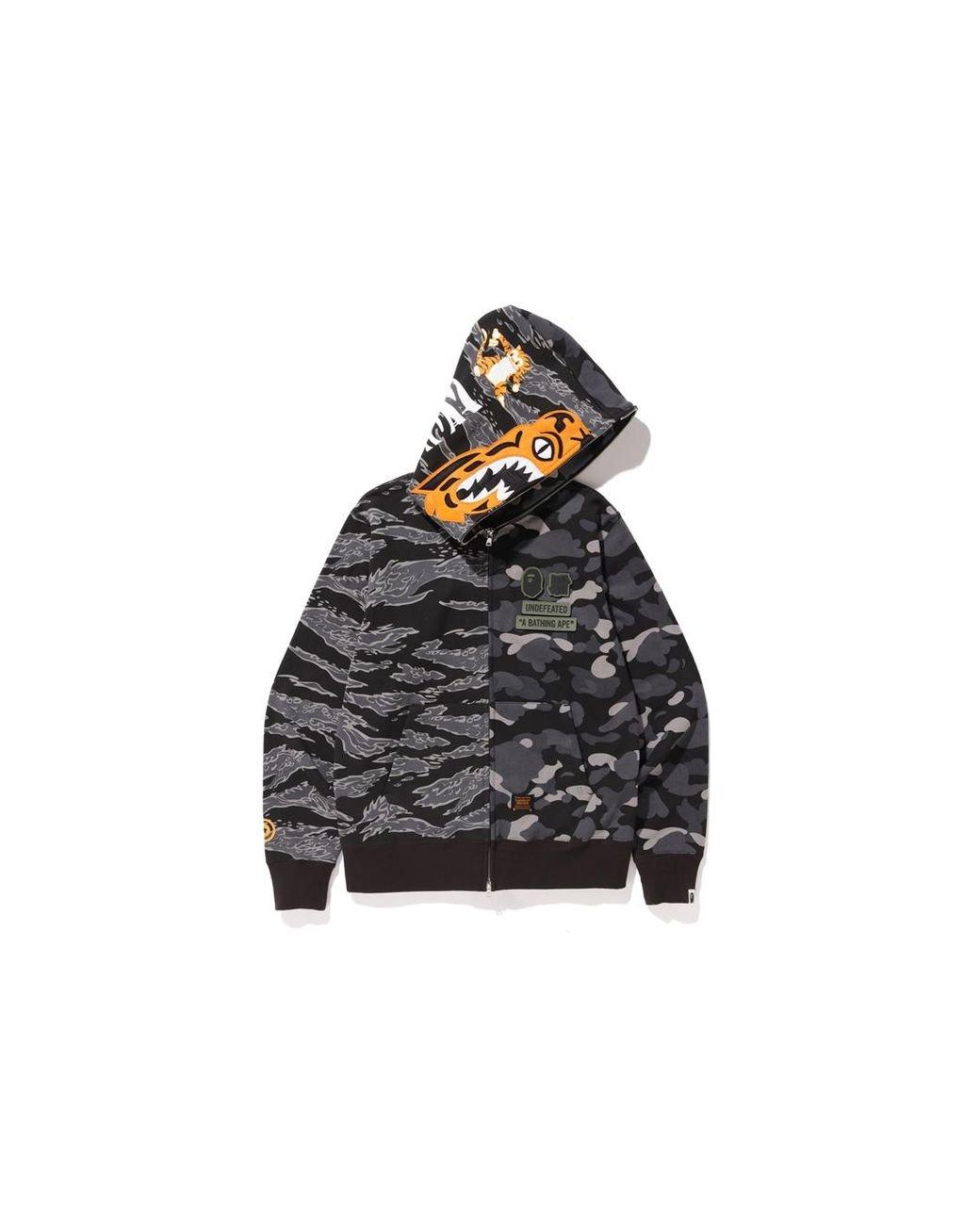 32731c06 A Bathing Ape X Undefeated Tiger Shark Half Full Zip Hoodie Black in Black  for Men - Lyst