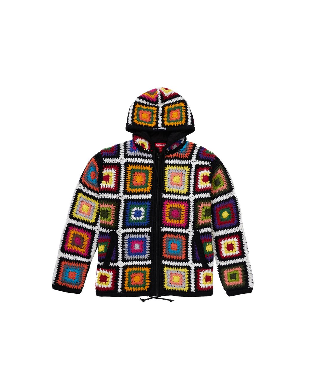 Supreme Crochet Hooded Zip Up Sweater For Men Lyst