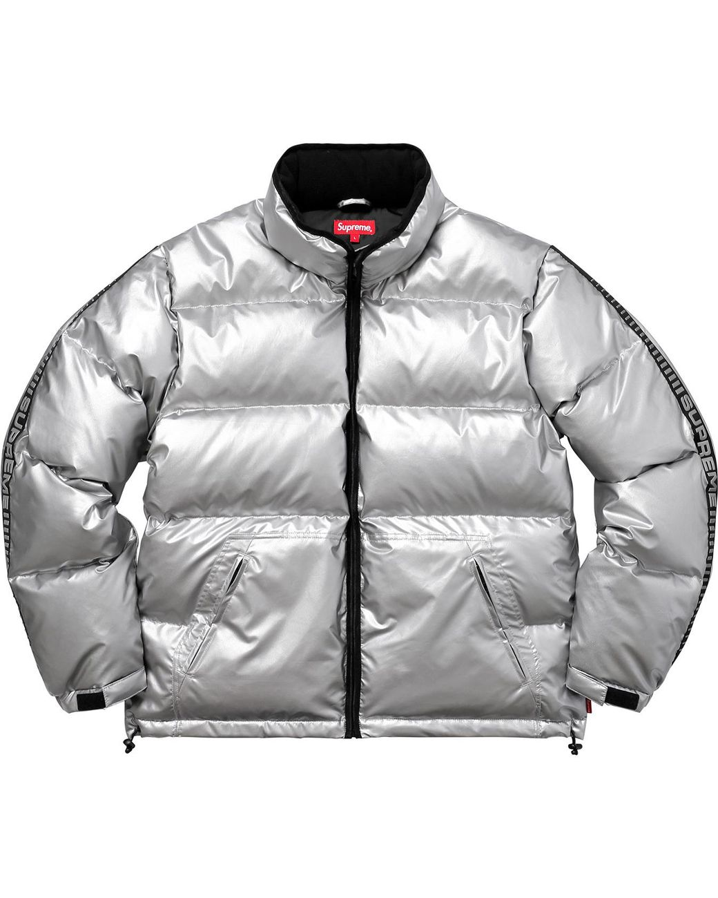 Supreme Reflective Sleeve Logo Puffy Jacket Silver In Metallic For