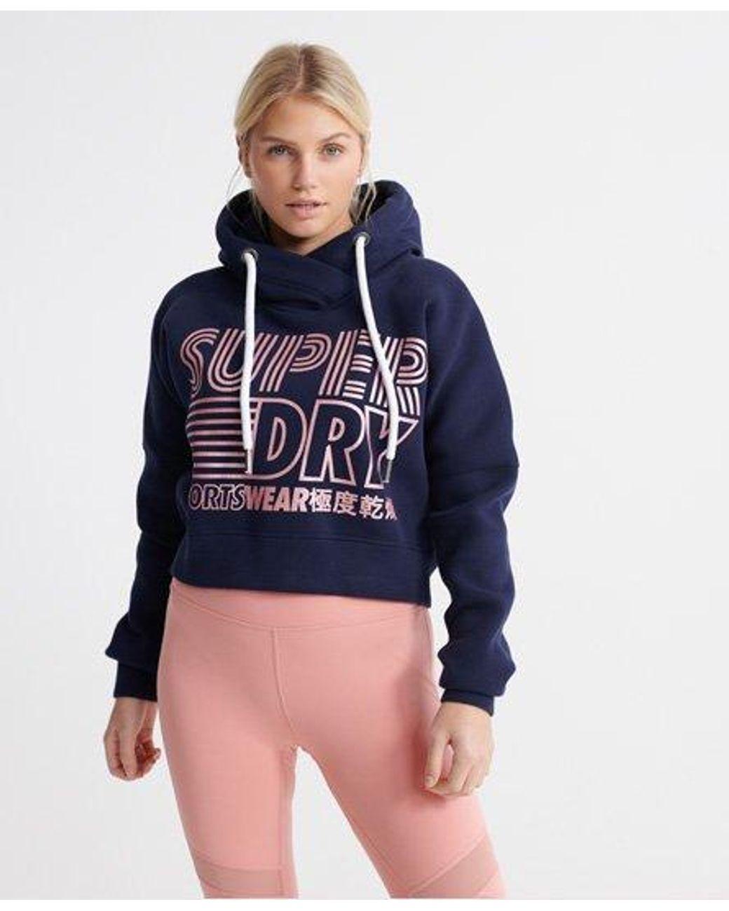 Superdry Womens Core Sport Crop Hoodie