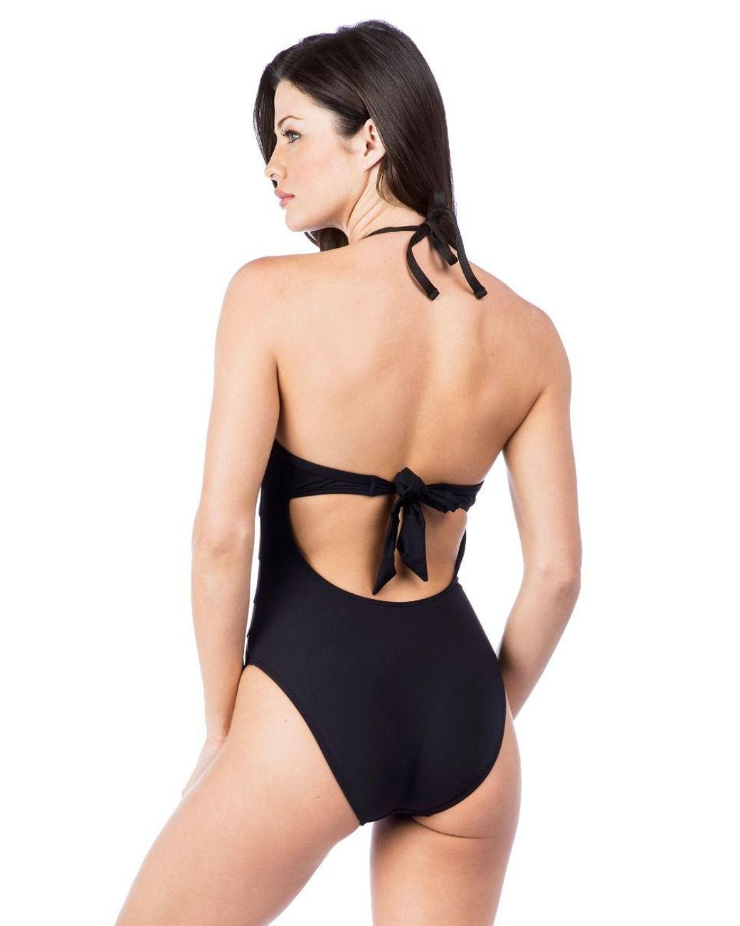 cb1fb39d3c Kenneth Cole Hall Of Fame Solid Push Up Mio One Piece Swimsuit in Black -  Lyst