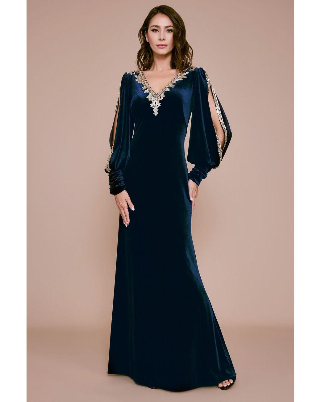 Tadashi Shoji Tuyen Velvet Evening Gown In Navy Gold Blue Lyst