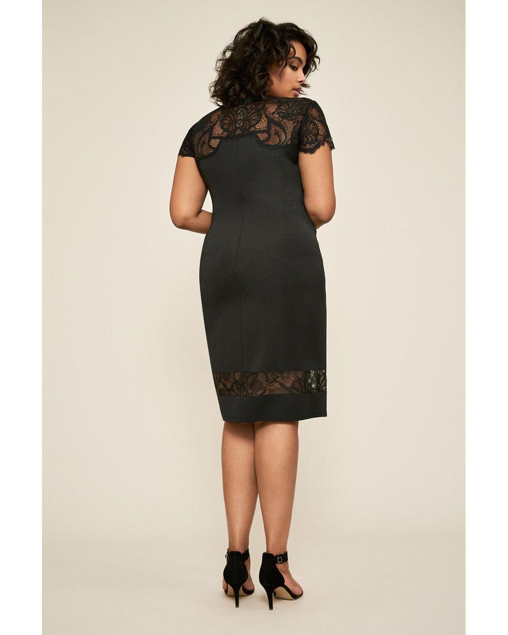 Women\'s Black Corisande Short Sleeve Fringe Dress - Plus Size