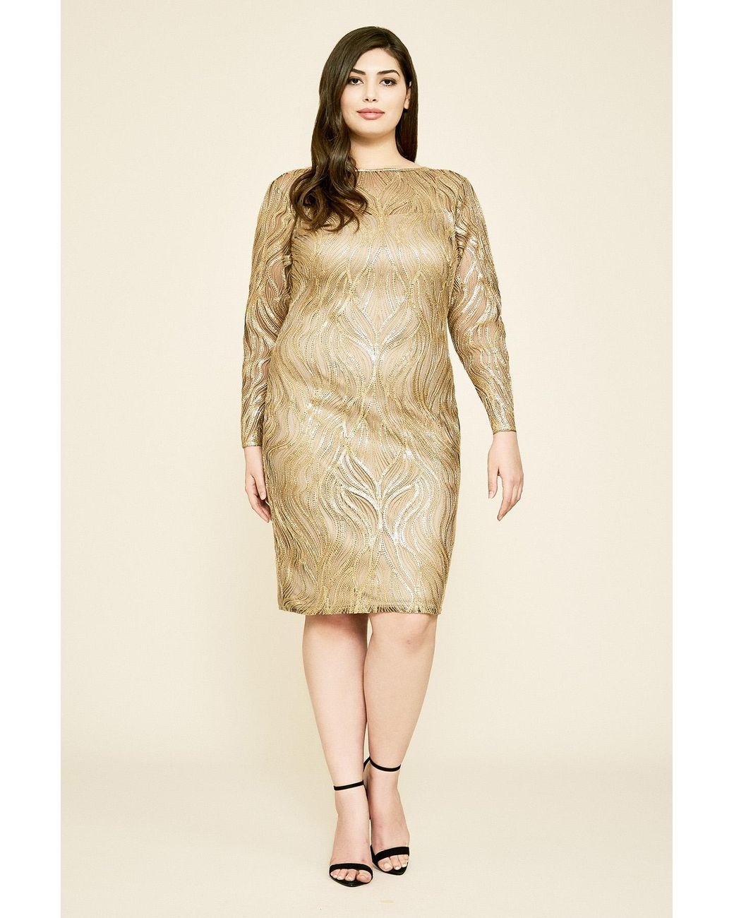 Women\'s Green Vibiana Embroidered Sequin Dress - Plus Size