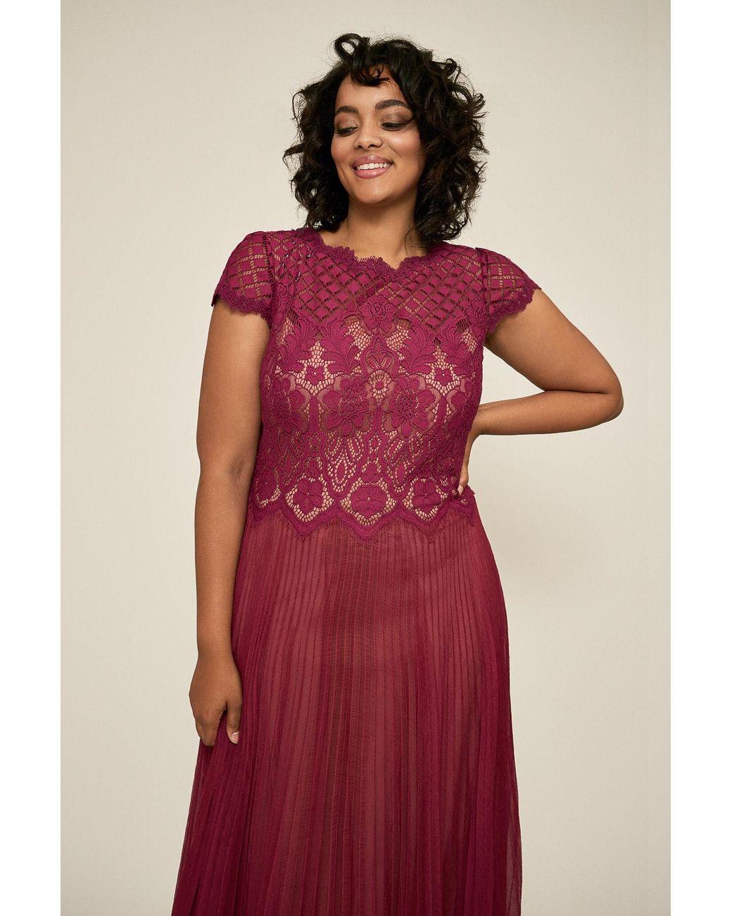 Drusa Chiffon Lace Tea-length Dress - Plus Size