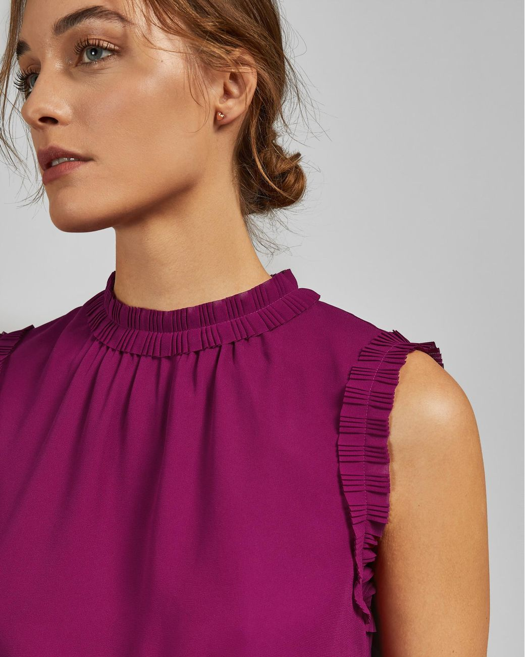 e5f468c62ce3c Ted Baker Tie Waist Pleated Top in Pink - Lyst