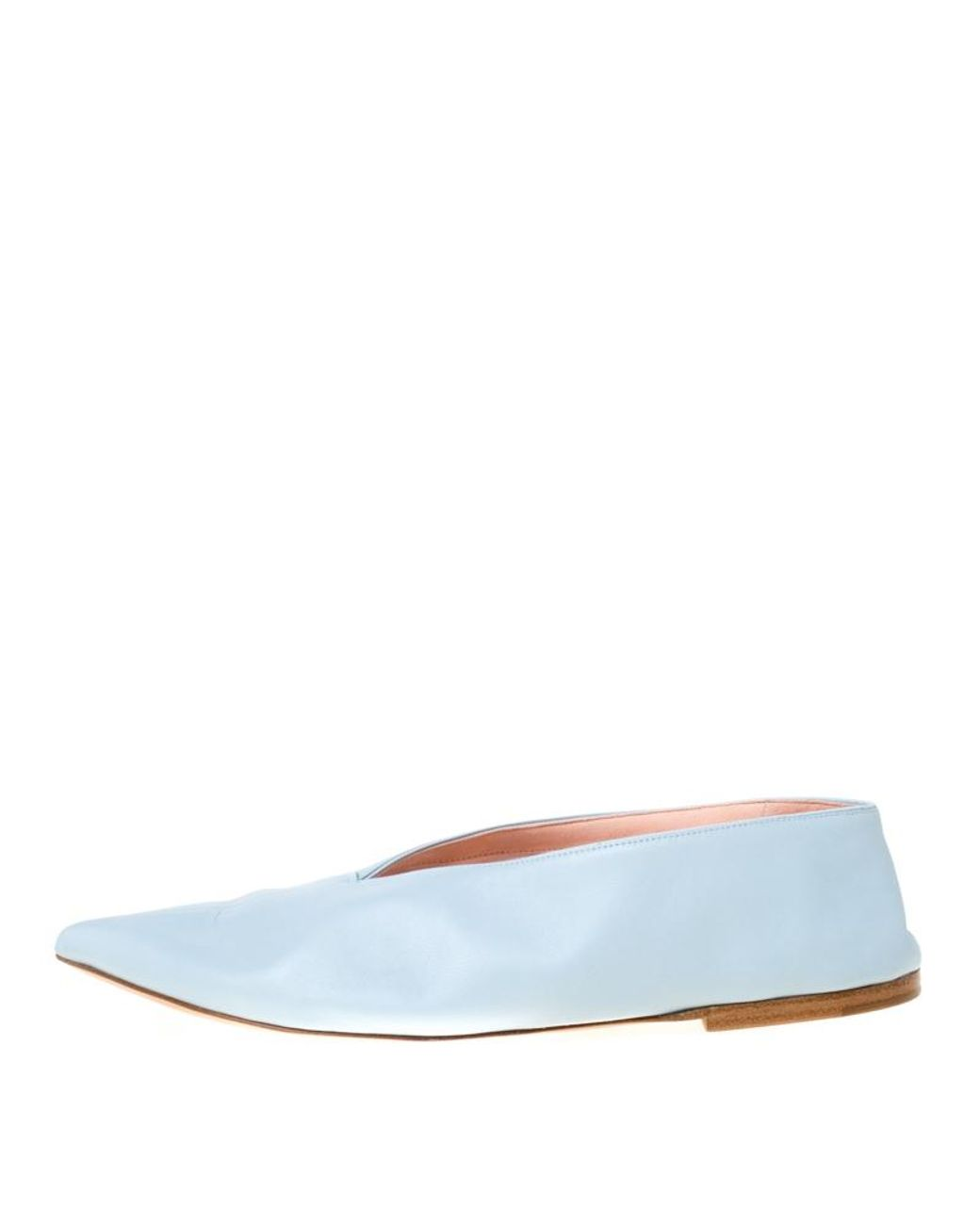 Céline Light Blue Leather Pointed Toe Flats Size 39 Lyst