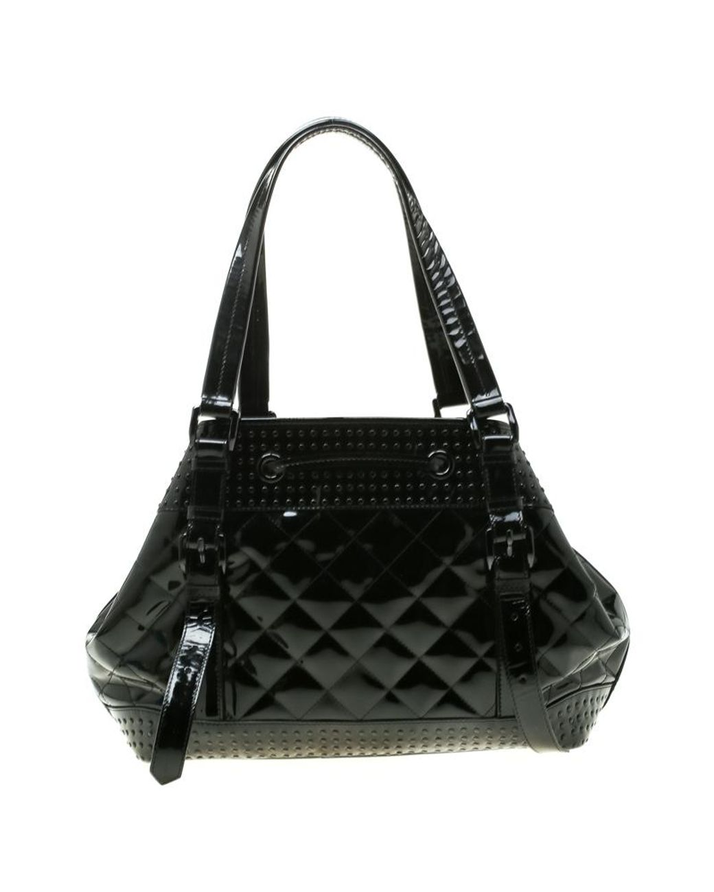 b850f4680e Burberry Black Quilted Patent Leather Studded Lowry Tote in Black - Lyst