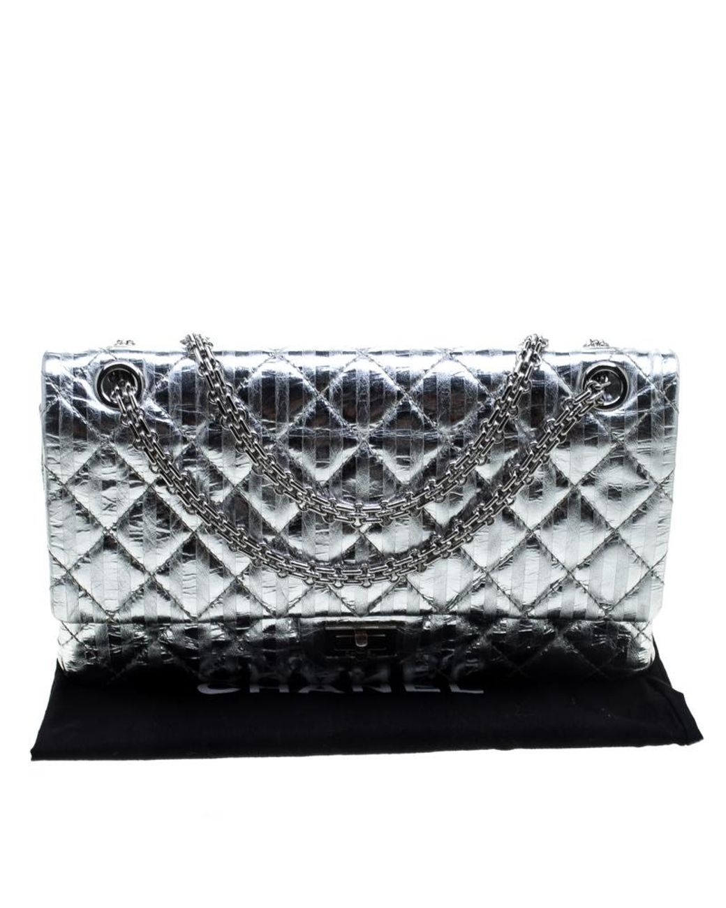 438293540d4543 Chanel Silver Quilted Leather Striped Reissue 2.55 Classic 226 Flap Bag in  Metallic - Lyst