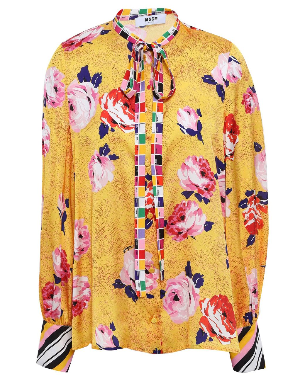 1a400e76381c MSGM Printed Twill Blouse Saffron in Pink - Lyst