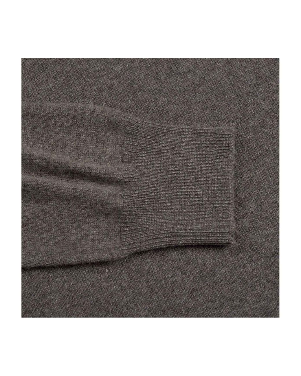 1925012c1 Rubinacci Taupe Long Sleeve Cashmere Polo Shirt in Gray for Men - Lyst