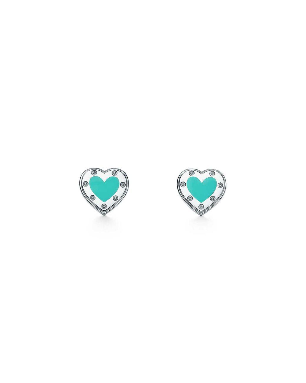 be5696925 Tiffany & Co. Return To Tiffanytm Love Heart Earrings In Silver With Enamel  Finish, Mini in Metallic - Lyst
