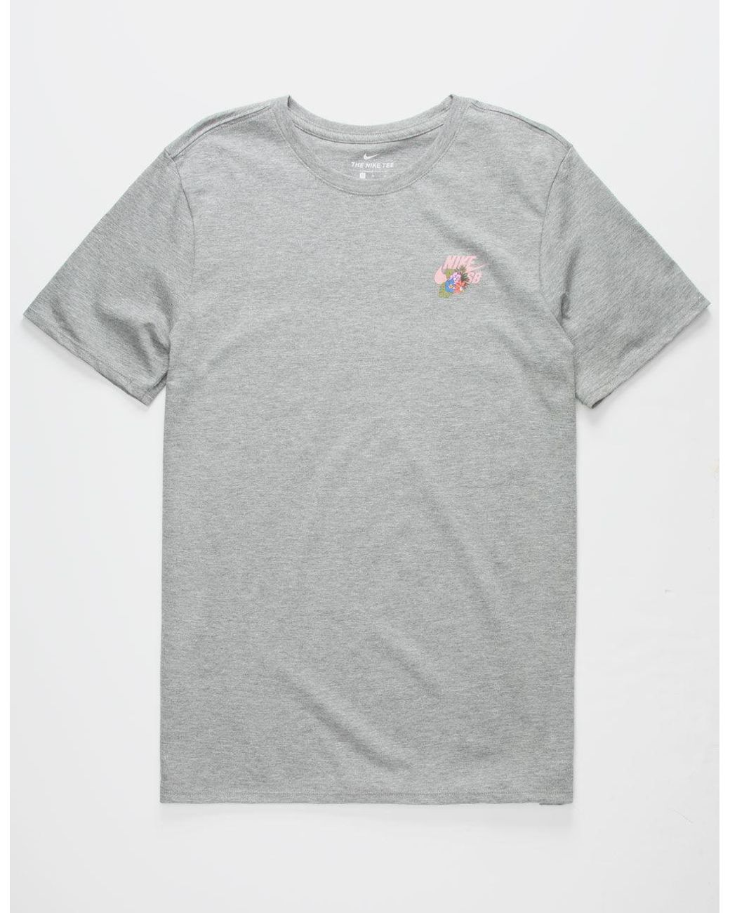 Nike Cotton Safari Floral Logo Mens T Shirt In Heather Gray Gray