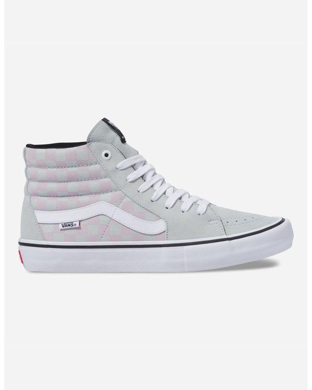 85b473cd2e32 Lyst - Vans Checkerboard Sk8-hi Pro Smoke   Violet Ice Shoes for Men