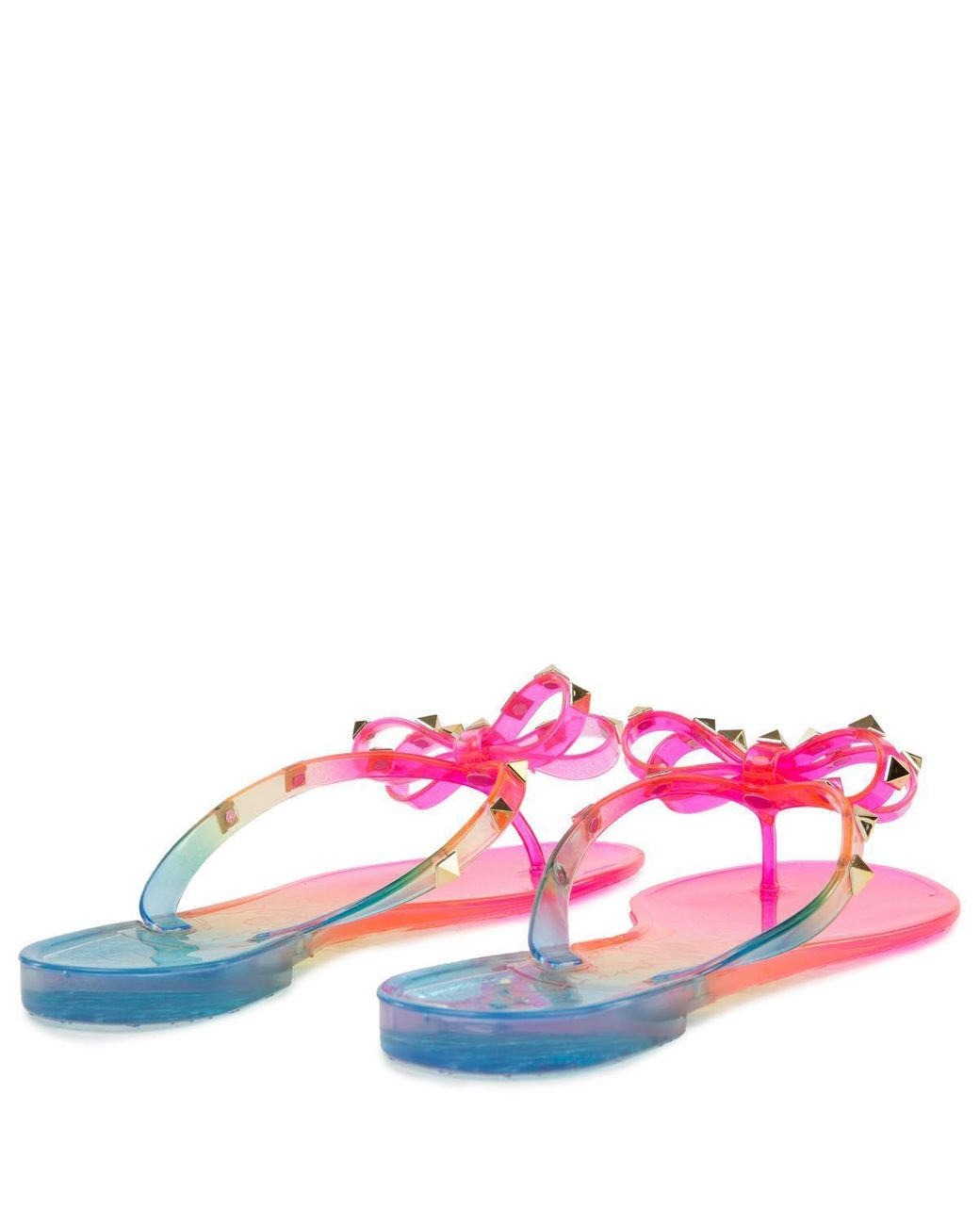 NEW Liliana Jelli-40 Black Studded Bow Jelly PVC Sandal
