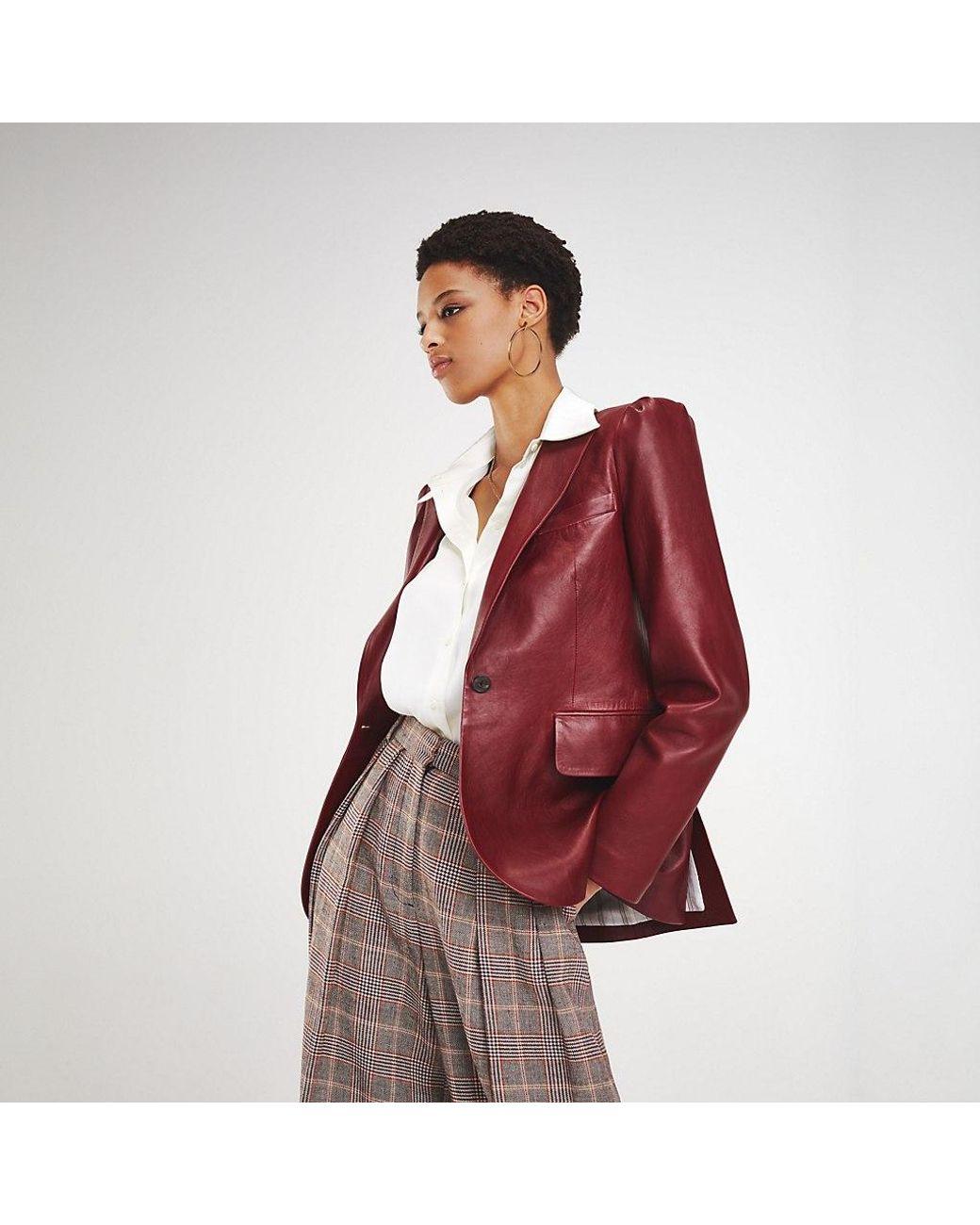 42678e9d Tommy Hilfiger Zendaya Leather Blazer in Brown - Lyst