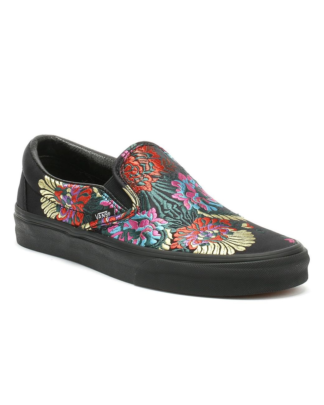 6950a73f9e Lyst - Vans Classic Slip On Festival Satin Womens Black Trainers in ...
