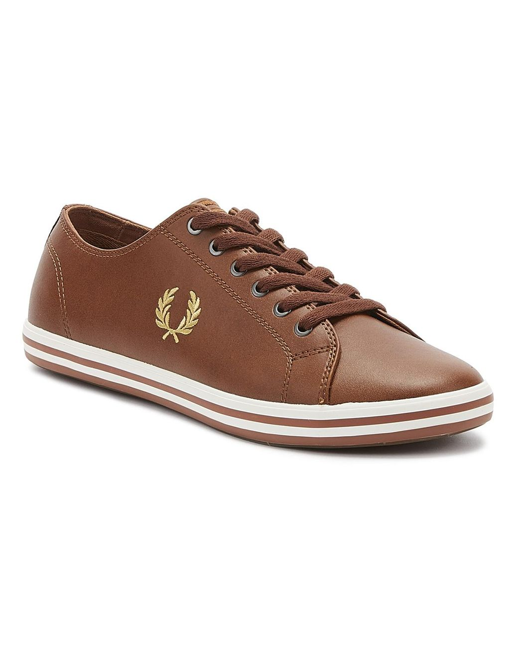 Brown Kingston Mens Tan Gold Leather Sneakers