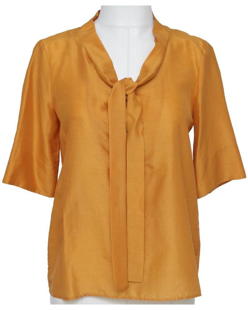 NWT ST JOHN Knits Silk Georgette Split Sleeve Tassel Blouse Shirt Top sz S $495