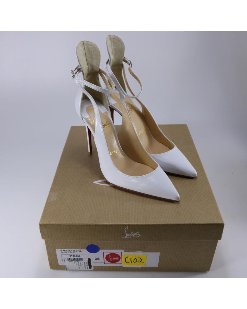 Christian Louboutin White Mascara 100 Kid Leather Stiletto